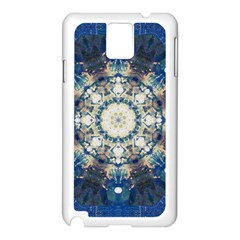 Painted Blue Mandala Flower On Canvas Samsung Galaxy Note 3 N9005 Case (white) by pepitasart