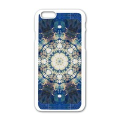 Painted Blue Mandala Flower On Canvas Apple Iphone 6/6s White Enamel Case by pepitasart