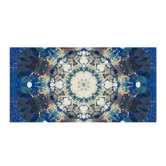 Painted Blue Mandala Flower On Canvas Satin Wrap by pepitasart