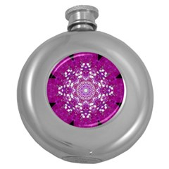 Wonderful Star Flower Painted On Canvas Round Hip Flask (5 Oz) by pepitasart