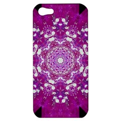 Wonderful Star Flower Painted On Canvas Apple Iphone 5 Hardshell Case by pepitasart