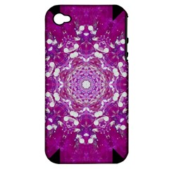 Wonderful Star Flower Painted On Canvas Apple Iphone 4/4s Hardshell Case (pc+silicone) by pepitasart