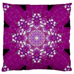Wonderful Star Flower Painted On Canvas Large Flano Cushion Case (two Sides) by pepitasart