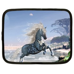 Wonderful Wild Fantasy Horse On The Beach Netbook Case (large) by FantasyWorld7