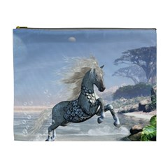 Wonderful Wild Fantasy Horse On The Beach Cosmetic Bag (xl) by FantasyWorld7