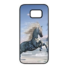 Wonderful Wild Fantasy Horse On The Beach Samsung Galaxy S7 Edge Black Seamless Case by FantasyWorld7