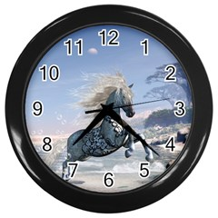 Wonderful Wild Fantasy Horse On The Beach Wall Clock (black) by FantasyWorld7