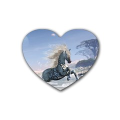Wonderful Wild Fantasy Horse On The Beach Rubber Coaster (heart)  by FantasyWorld7