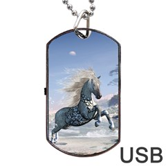 Wonderful Wild Fantasy Horse On The Beach Dog Tag Usb Flash (two Sides) by FantasyWorld7