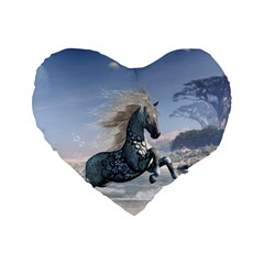 Wonderful Wild Fantasy Horse On The Beach Standard 16  Premium Flano Heart Shape Cushions by FantasyWorld7