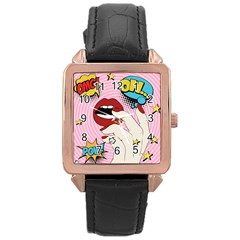 Pop Art   Rose Gold Leather Watch  by Valentinaart