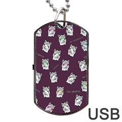 Llama Pattern Dog Tag Usb Flash (two Sides)