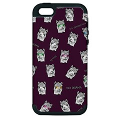 Llama Pattern Apple Iphone 5 Hardshell Case (pc+silicone) by Valentinaart