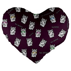 Llama Pattern Large 19  Premium Flano Heart Shape Cushions