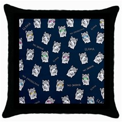 Llama Pattern Throw Pillow Case (black) by Valentinaart