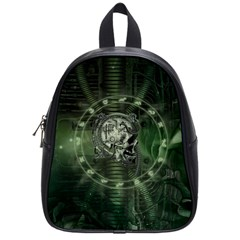 Awesome Creepy Mechanical Skull School Bag (small) by FantasyWorld7