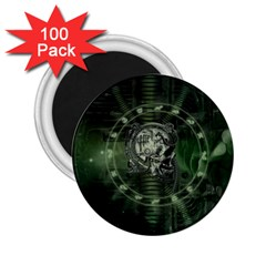 Awesome Creepy Mechanical Skull 2 25  Magnets (100 Pack)
