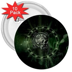 Awesome Creepy Mechanical Skull 3  Buttons (10 Pack)  by FantasyWorld7