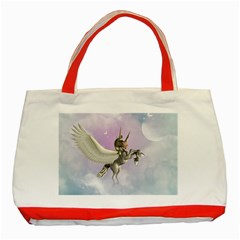 Cute Little Pegasus In The Sky, Cartoon Classic Tote Bag (red)