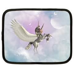 Cute Little Pegasus In The Sky, Cartoon Netbook Case (large) by FantasyWorld7