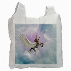 Cute Little Pegasus In The Sky, Cartoon Recycle Bag (two Side) by FantasyWorld7