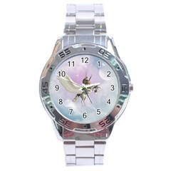 Cute Little Pegasus In The Sky, Cartoon Stainless Steel Analogue Watch by FantasyWorld7