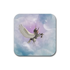 Cute Little Pegasus In The Sky, Cartoon Rubber Square Coaster (4 Pack)  by FantasyWorld7