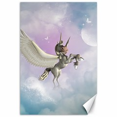 Cute Little Pegasus In The Sky, Cartoon Canvas 12  X 18  by FantasyWorld7