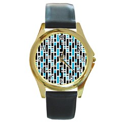 Linear Sequence Pattern Design Round Gold Metal Watch