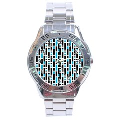 Linear Sequence Pattern Design Stainless Steel Analogue Watch by dflcprintsclothing
