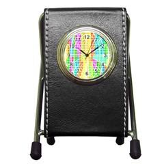 Abstract Squares Background Network Pen Holder Desk Clock