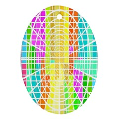Abstract Squares Background Network Oval Ornament (two Sides)
