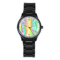 Abstract Squares Background Network Stainless Steel Round Watch by Sapixe