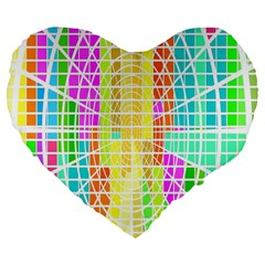 Abstract Squares Background Network Large 19  Premium Flano Heart Shape Cushions by Sapixe
