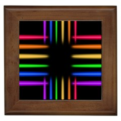 Neon Light Abstract Pattern Lines Framed Tiles