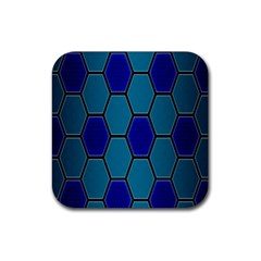 Hexagon Background Geometric Mosaic Rubber Square Coaster (4 Pack)