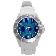 Hexagon Background Geometric Mosaic Round Plastic Sport Watch (l) by Sapixe