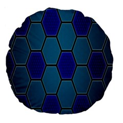 Hexagon Background Geometric Mosaic Large 18  Premium Flano Round Cushions by Sapixe