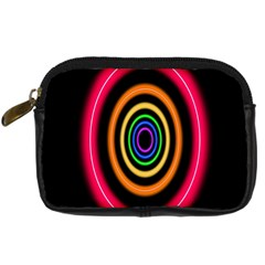 Neon Light Abstract Pattern Lines Digital Camera Leather Case by Sapixe