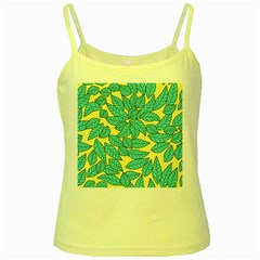 Leaves Dried Leaves Stamping Yellow Spaghetti Tank by Sapixe