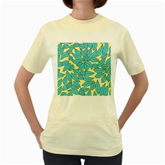 Leaves Dried Leaves Stamping Women s Yellow T Shirt by Sapixe