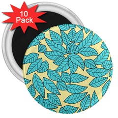 Leaves Dried Leaves Stamping 3  Magnets (10 Pack)  by Sapixe