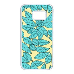Leaves Dried Leaves Stamping Samsung Galaxy S7 White Seamless Case by Sapixe