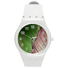 Leaf Banana Leaf Greenish Lines Round Plastic Sport Watch (m) by Sapixe