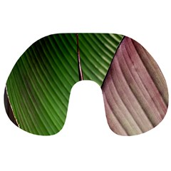 Leaf Banana Leaf Greenish Lines Travel Neck Pillows by Sapixe