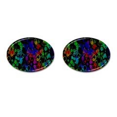 Rainbow Pattern Geometric Texture Cufflinks (oval) by Sapixe