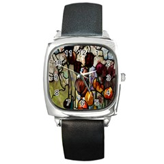Tiffany Window Colorful Pattern Square Metal Watch