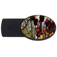 Tiffany Window Colorful Pattern Usb Flash Drive Oval (4 Gb)