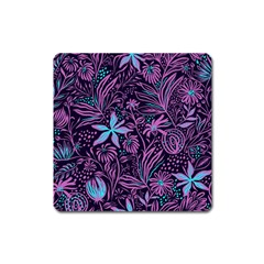 Stamping Pattern Leaves Drawing Square Magnet