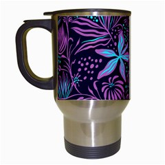 Stamping Pattern Leaves Drawing Travel Mugs (white) by Sapixe